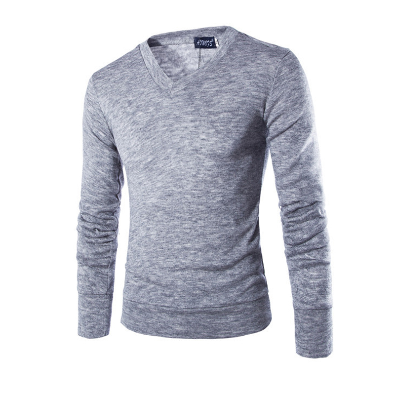 New 2019 Casual Men's Pullover Sweater Spring Autumn Cotton V-Neck Long Sleeve Men Knitted Sweaters Slim Thin Men Sweaters 2XL