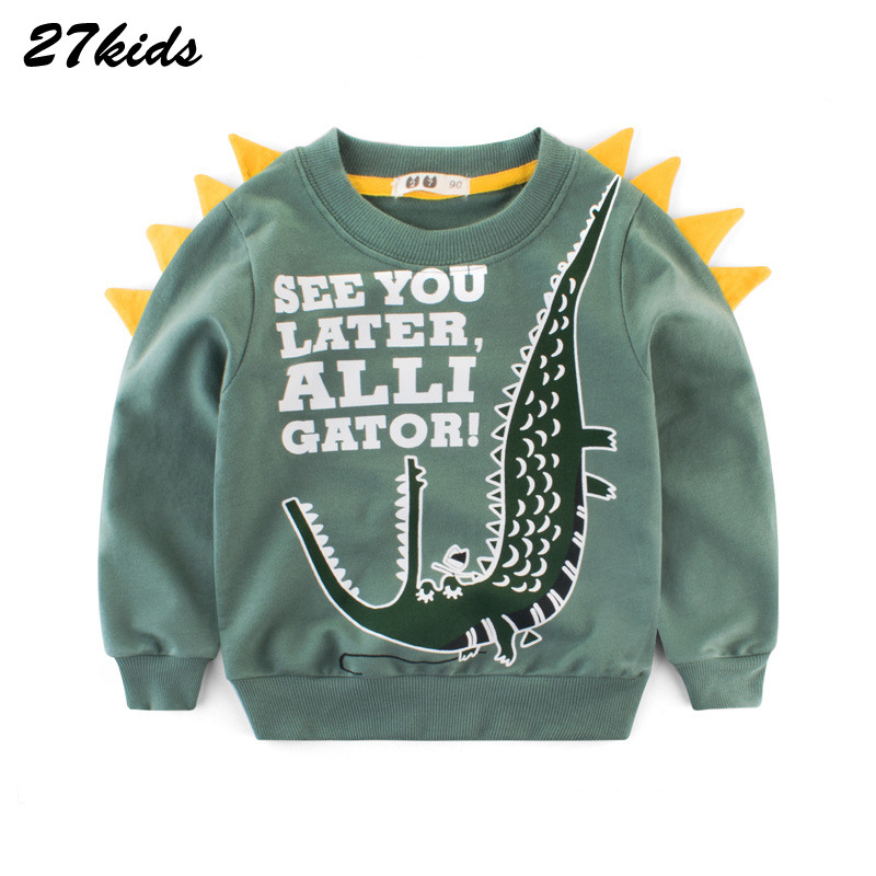 27kids 2-9Years Cartoon Dinosaur Children Boys Sweater Spring Autumn 2019 New Bahy Kids Boys Girls Clothes Chid Boys T Shirts 2