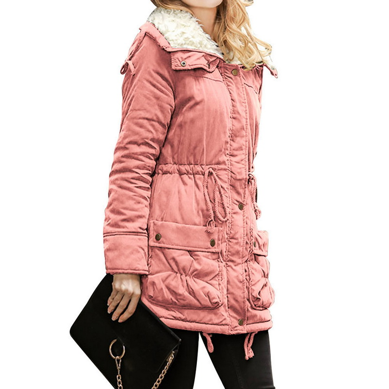 LITTHING Long Sleeve Zipper Windbreaker Jacket Coat   Parkas   Female Women Winter Coat Thickening Cotton Jacket Womens Outwear Z25