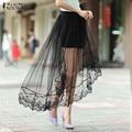 ZANZEA Fashion Women Skirt 2016 Summer Sexy Patchwork Mesh Skirts Asymmetrical Casual Elastic Waist Hollow Out Skirts Plus Size