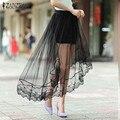 ZANZEA Moda Mujeres Falda de 2016 Del Verano Sexy Patchwork Mesh Faldas Asimétricas Casual Cintura Elástico Ahueca Hacia Fuera Faldas Tallas grandes