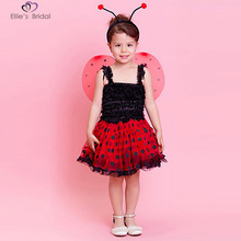 LadyBug Costume Halloween Masquerade Party Suits Girls Role Play Dress Up Tutu 3pc set(dress, wing,headband)