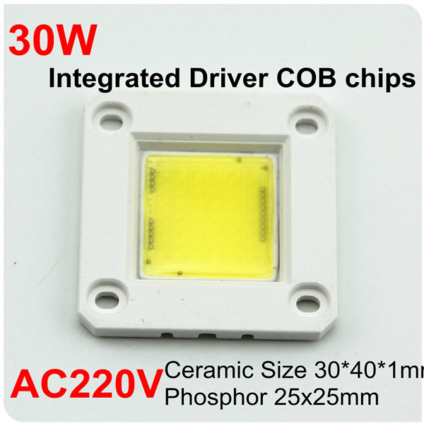 2015 Newly Warm Cold white Driverless high power led chips 20W 30W Triac PWM Dimmable Ceramic cob chip 220V 230V