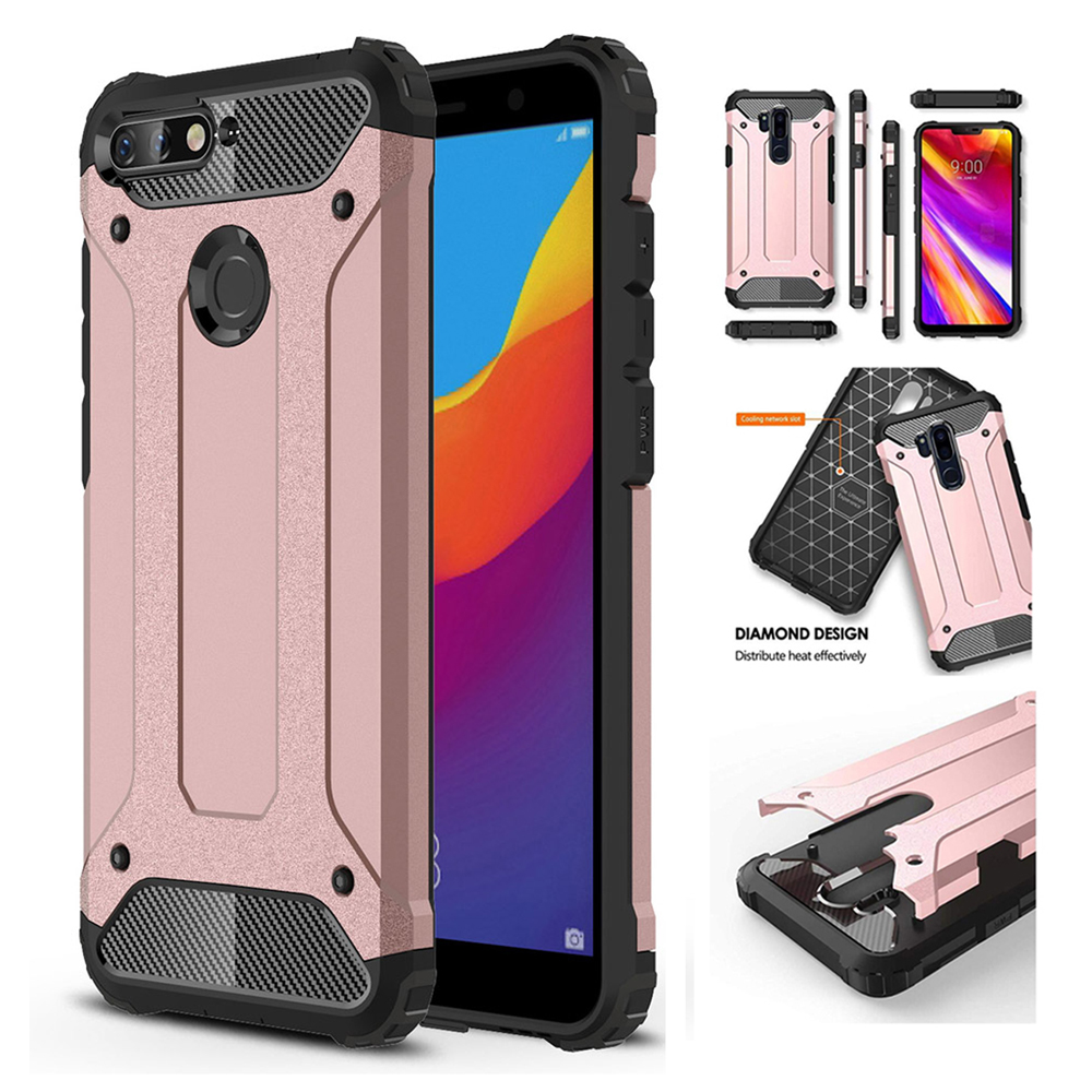 brand new 9109a 2f7f6 Case For Huawei Y6 Soft TPU With Hard PC Back Case For Huawei Y5 Y6 Y7 Y9  Prime P Smart Phone Cover Shell