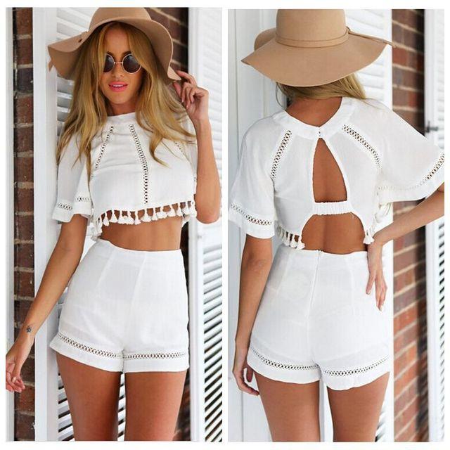 two piece dress outfits women dresses Ladies tropical plus size clothing  white vestidos short backless bodycon Mini Beach dress dc6ff3c93589
