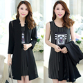 2016 Spring And Summer Jacket Women Fat mm Thin two-piece Dress Plus Size Slim Was Thin Cardigan coat BL32