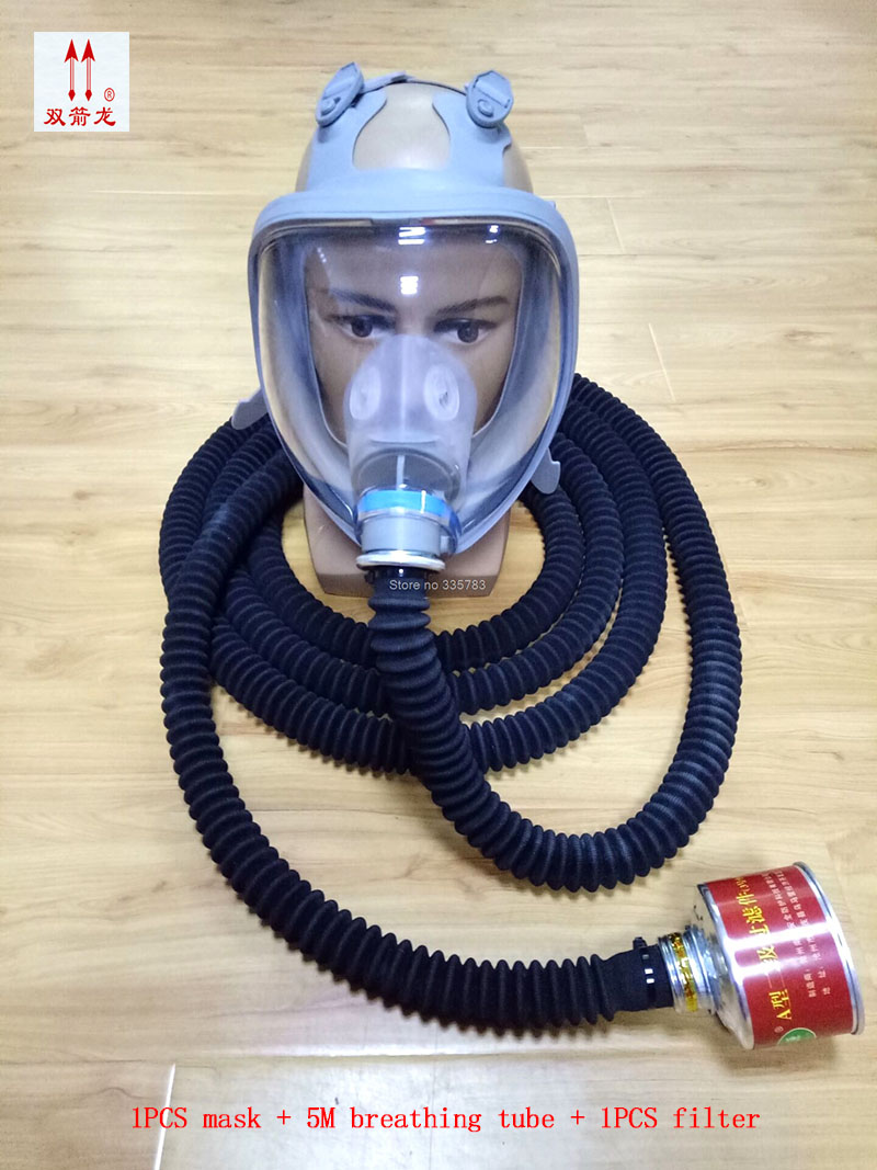 цена 5M Breathing tube respirator gas mask high quality Silica gel full face respirator Underground pipe Dangerous operation gas mask