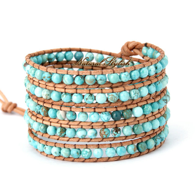 Natural Turquoise 5x Leather Wrap Bracelet Stone Beads Bracelets Women Accessories