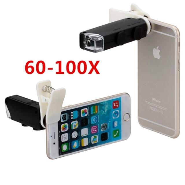 Envío Libre Universal de Clip de La Joyería LED 100X Microscopio Lupa para el iphone 6 6 s plus samsung s7 s6 note 5 teléfonos lente cl-53-2