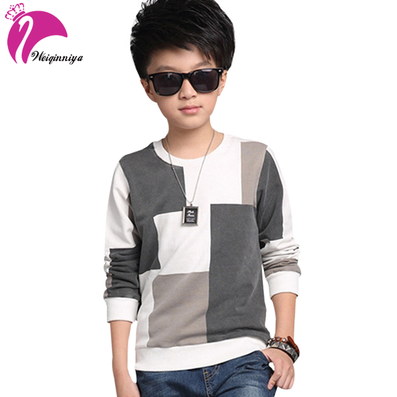 New Kids Boys Sweatshirts Spring Autumn Casual Gery White Patchwork Style Cotton Long Sleeve Shirts Children's Boys Clothing
