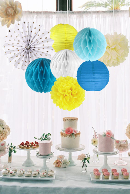 8pcs/set Celebration Decorations Ideas White Paper Fans Honeycomb Ball  Lantern And Pompoms For Home