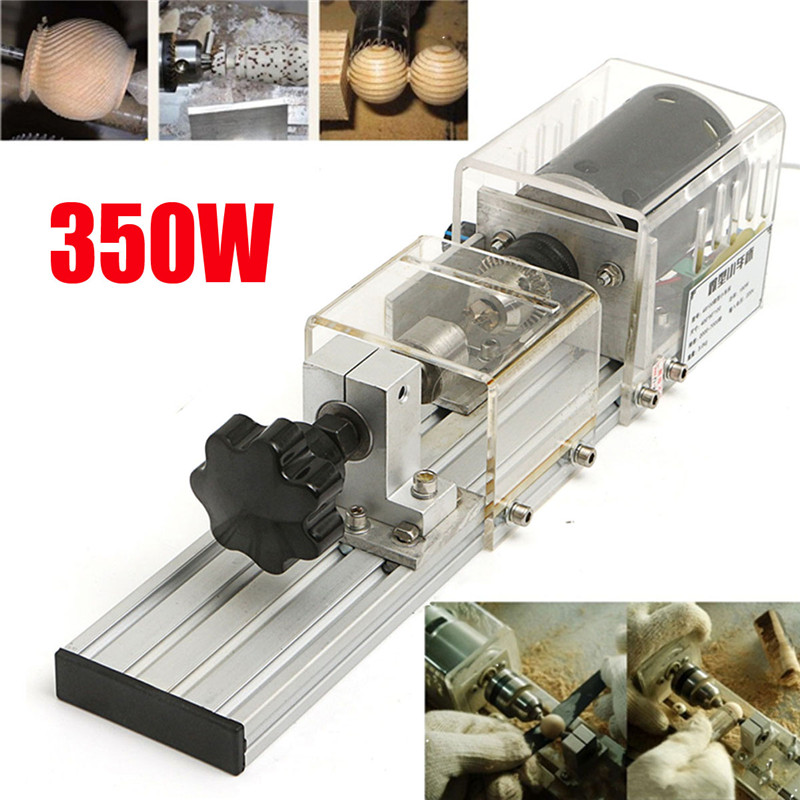 350W Precision Mini Wood Lathe Machine DIY Woodworking Lathe Polishing Cutting Drill Rotary Tool Standard Set Bench Drill