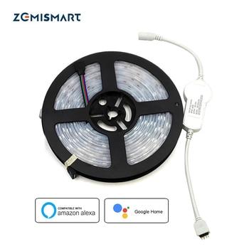 Pilote LED avec bande LED RGB de 5 mètres fonctionne avec Alexa Google Home lampe intelligente commande vocale et APP variateur de contrôle minuterie