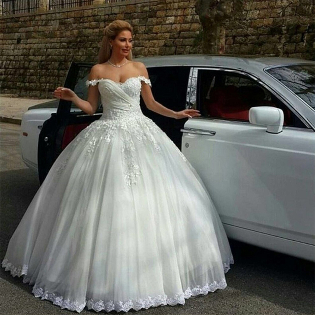 Sweetheart Ball Gown Wedding Dress Beautiful Beaded Lace Dresses Pretty Bridal White Gowns