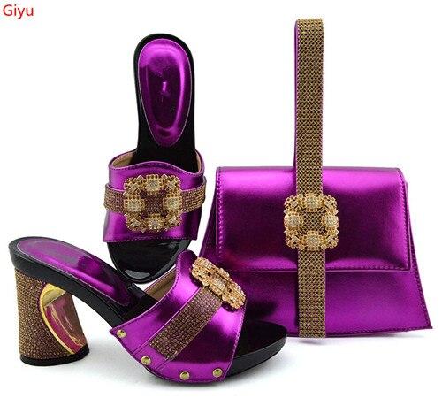 Doershow nouvelle chaussure italienne avec sacs assortis sertie de chaussure en strass et sac assorti pour les chaussures de concepteur de fête nigériane SKP1-6