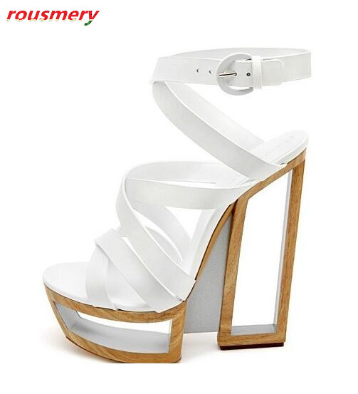 Rousmery Newest Sexy Cut-outs High Heels Dress Runway Shoes For Ladies Open Toe Summer Gladiator Sandals Woman Platform Shoes shoesofdream butterfly cut outs knee high sandals summer dress buckle strap fashion spool heels open toe basic cut outs