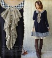 Mori Girl Style Autumn & Winter Cotton Lace Collar Plaid Asymmetrical Dress Long Sleeve Knee Length Japanese Forest Girl