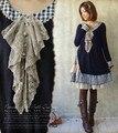 Mori chica estilo de otoño e invierno de algodón a cuadros cuello de encaje asimétrico bosque japanese girl dress de la manga larga longitud de la rodilla