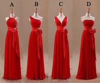 Cheap New Long Chiffon Blush Red Bridesmaid Dresses 2018 A Line Vestido De Festa De Casamen Formal Party Prom Dresses Plus size