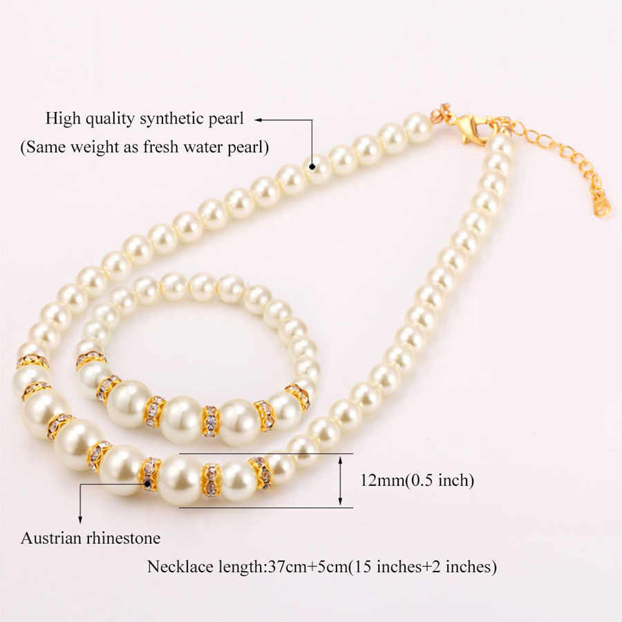 Contas africanas conjunto de jóias simulado-pérola colar pulseira brincos feminino conjuntos de jóias inlay cz conjunto de noiva por atacado livre presentes