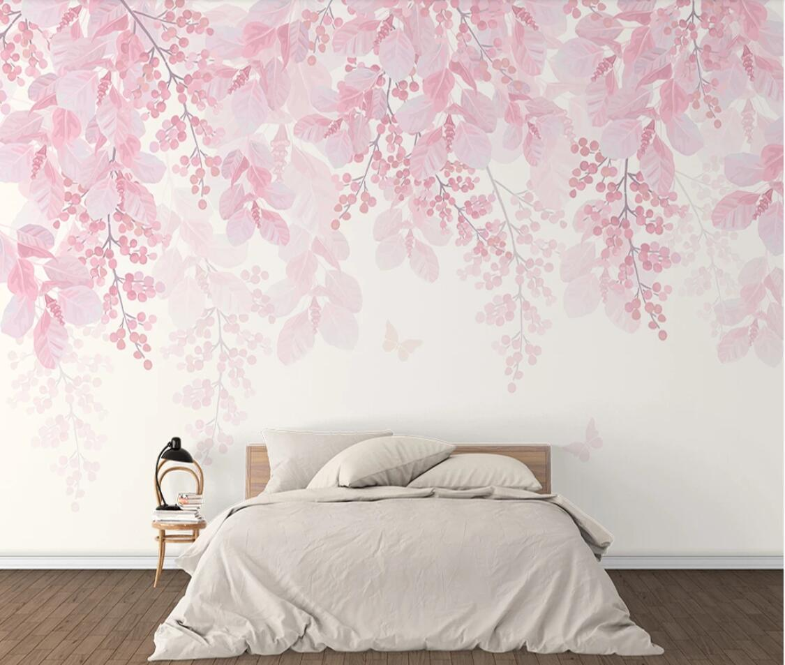 Pink Cherry Blossom Wallpaper Mural Flower Waterproof Canvas Romantic Floral HD Hand-painted Wall Papers Rolls Custom