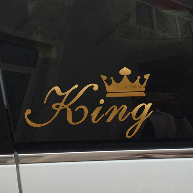 KING CROWN Gold QUEEN CROWN Gold Funny Car Car Decal Sticker Vinyl - Funny car decal stickers