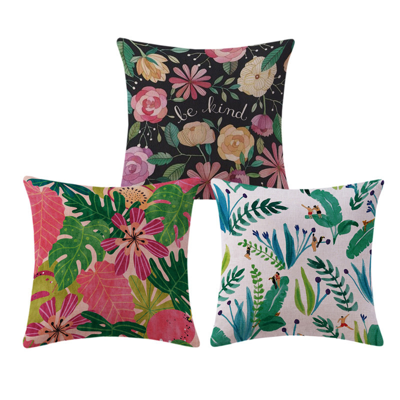 American Small Fresh Green Plant Cushion Decorative Pillow Home Decor Sofa Throw  Pillows Cactus Floral 18*18inches Almofadas