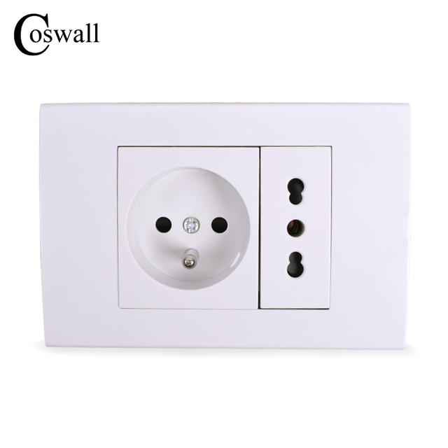Coswall 16A French Standard Wall Power Socket With Italian / Chile ...