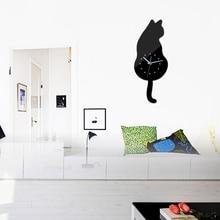 new sale diy wall clock cat quartz watch clocks acrylic mirror wall sticker home decoration living room still life stickers