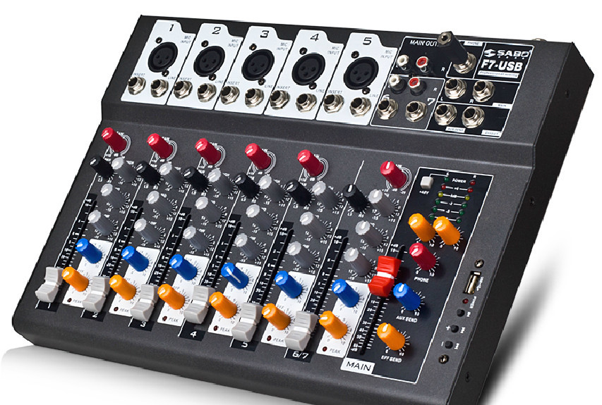 F7-USB Mini Audio Mixer Console with USB,Built in effect processor Audio Mixer, 7 channel mixer sound console 48v power supply