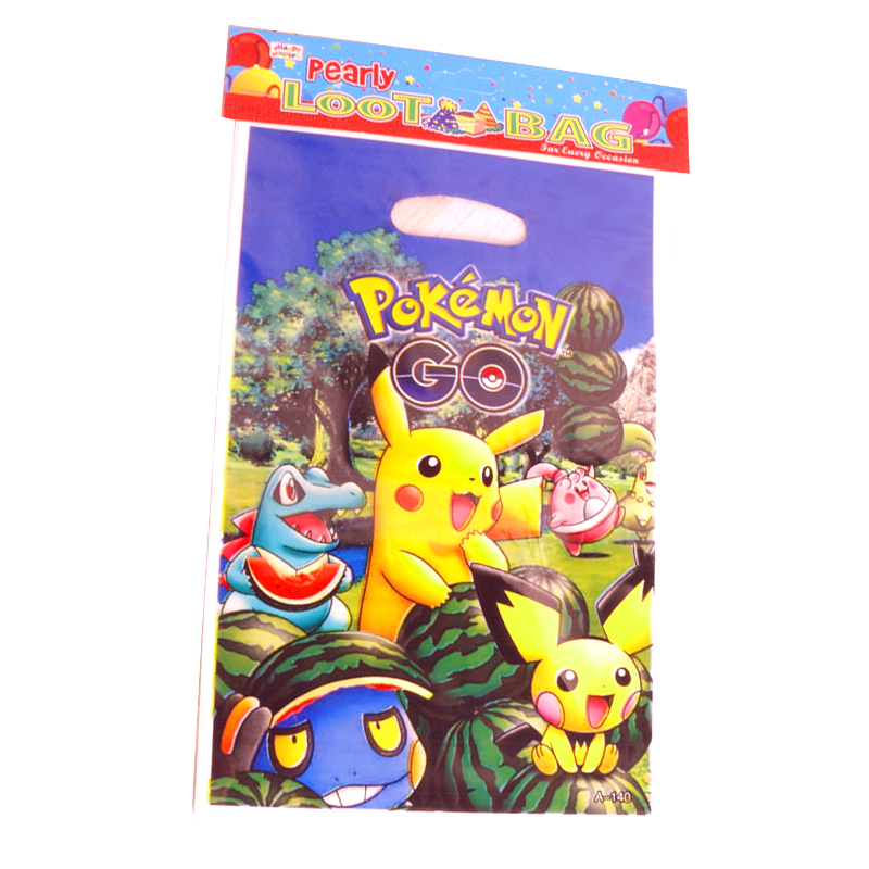 10PCS Boys Favors Decorate Party Pokemon Go/ Pikachu Theme Happy Birthday Plastic Gifts Bags Baby Shower Loot Bags 17*25 CM