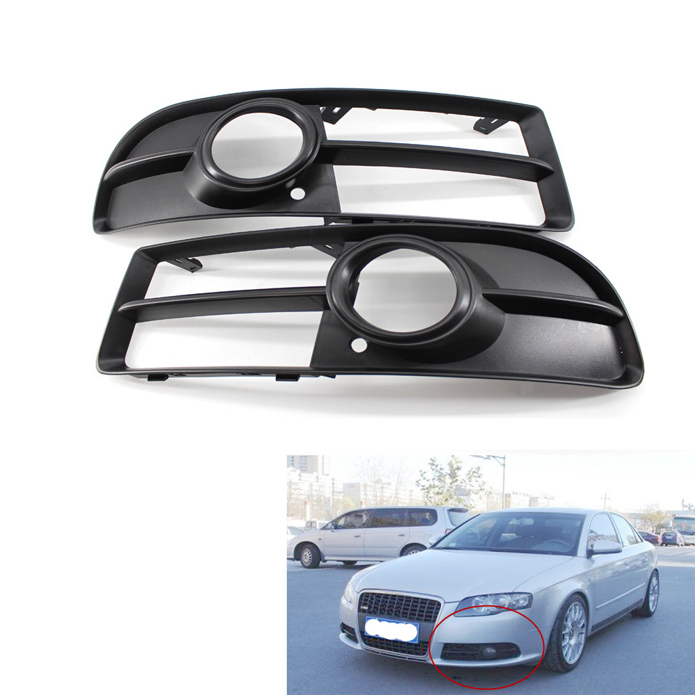 2 pcs Front Lower Side Bumper Fog Light Lamp <font><b>Grill</b></font> Grille Pair for <font><b>Audi</b></font> <font><b>A4</b></font> <font><b>B7</b></font> S-line S4 05-08 Not for <font><b>Audi</b></font> <font><b>A4</b></font> Base Sedan 4 Door image
