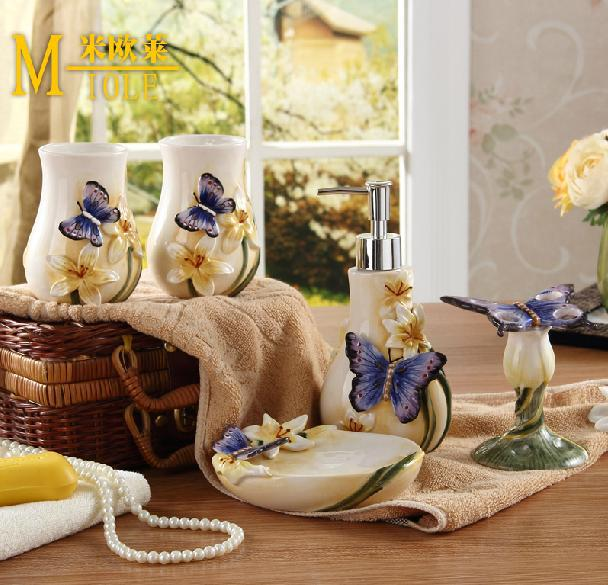 Ceramic Butterfly Bathroom Set 5pcs Set Bathroom Accessories Home Decor For Bathroom Free Shipping