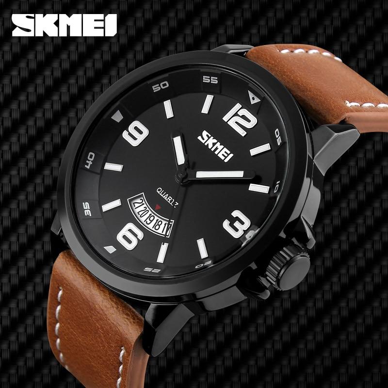 NEW 2018 Brand SKMEI Watches men Fashion Casual Quartz Watch Man Waterproof Sports Military Leather Strap Wrist watches,