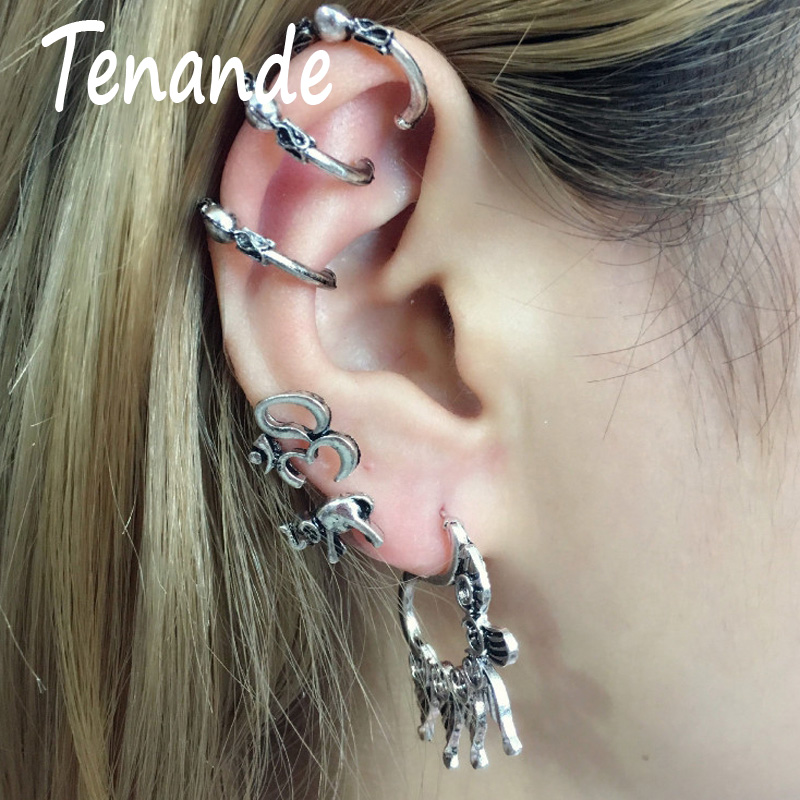Professional Sale Tenande 7 Pairs/set Vintage Punk Big Petal Elephant Moon Star Clip Earrings For Women Hot Sale Tibet Silver Color Accessories Earrings Jewelry & Accessories