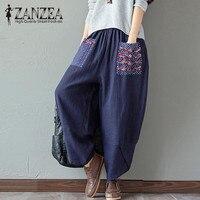 2017 ZANZEA Women Elastic Waist Retro Print Linen Harem Pants Autumn Cotton Casual Loose Long Trousers