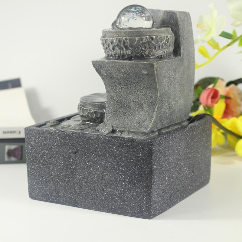 110/220 V résine naturelle Feng Shui fontaine d'eau boule de cristal défilement paysage aquatique décoration Figurines Miniatures artisanat envoyé ami - 4