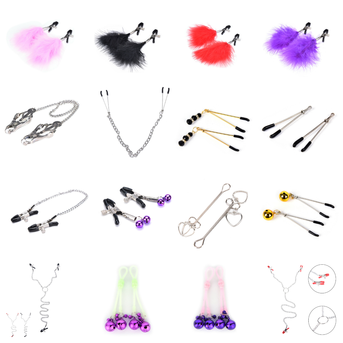 Exotic Accessories  Chain Fetish Nipple Clamps Shaking Milk Stimulate  For Women Couple Body Jewelry Accessories