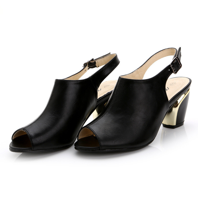 Summer women classic new hot peep toe square med heels shoes solid buckle simple sexy high-grade lady casual pumps sandals new hot spring summer high quality fashion trend simple classic solid pleated flats casual pointed toe women office boat shoes