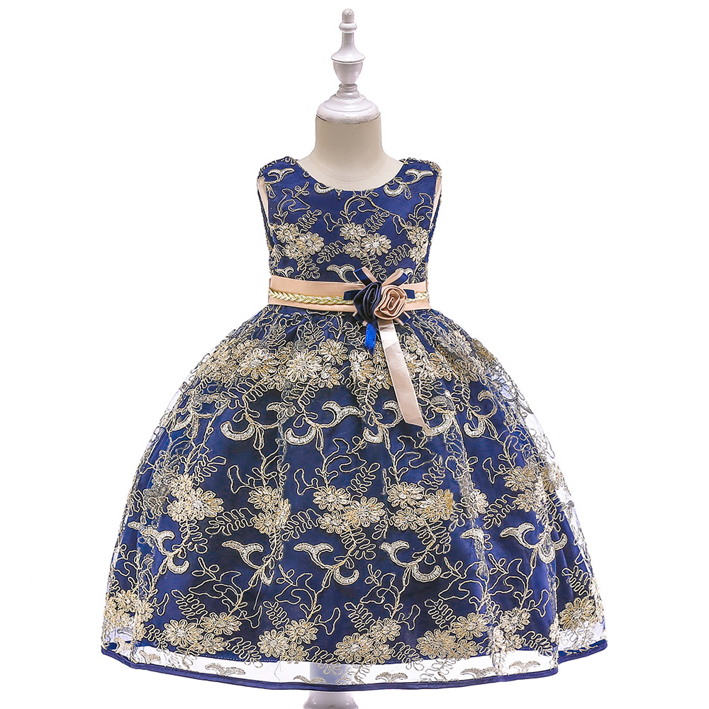 Navy Appliques Draped Sequined   Flowers     Girl     Dresses   With Ribbon Bow Elegant Lace   Flower   Bow First Communion   Dresses
