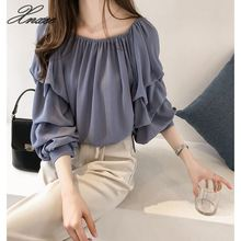 Summer new word collar strapless loose layer chiffon shirt elegant long-sleeved women