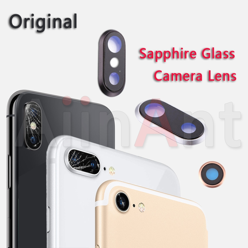 Sapphire Crystal Back Rear Camera Glass Ring For iPhone 7 8 Plus Original Camera Lens Ring Cover Replacement Repair Parts