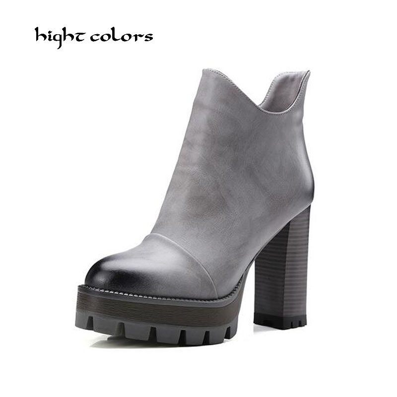 Size 10 Women High PU Leather Platform Shoes Zip Ankle Knight Boots Chunky Heel Pumps Sexy