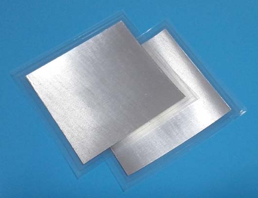Feuille d'indium feuille d'indium dans: 4N5; taille: 100mm * 100mm * 0.2mm, ou taille requise.