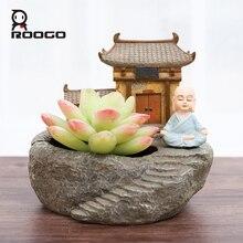 roogo gerden succulent plant flower pots monk temple shape zen bonsai Chinese style planter home desktop decoration