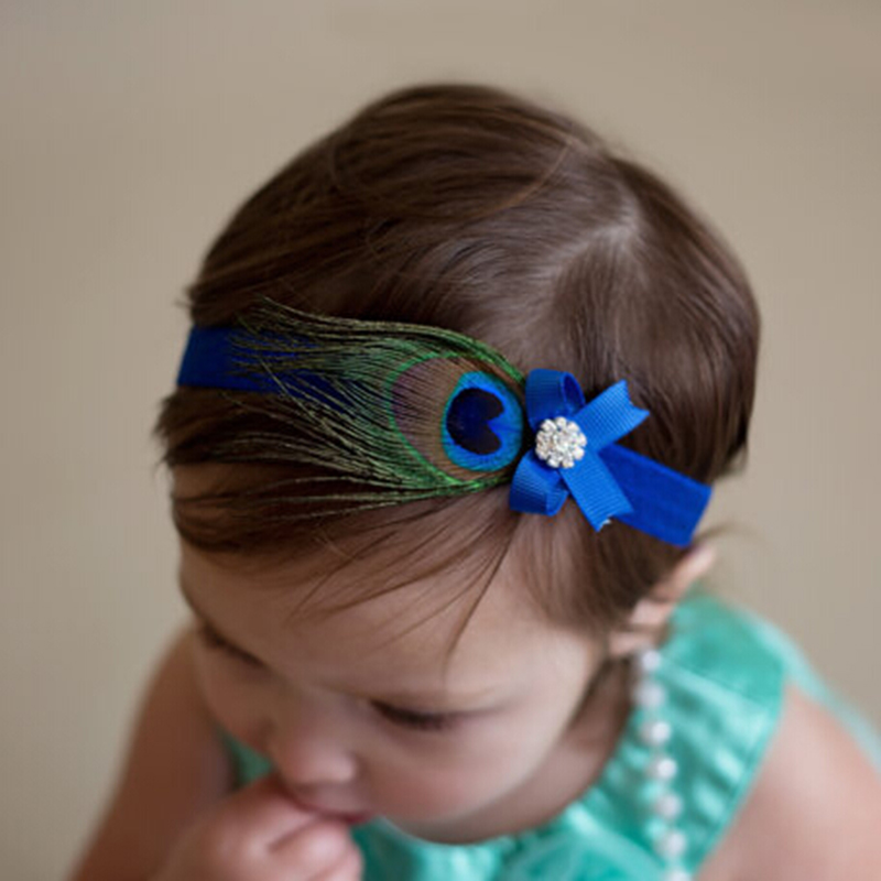 1 st Kids Headband Peacock Feather Rhinestone Princess Elastic Hairband Nyfödda Flickor Bow Headdress Hårband Tillbehör