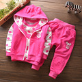 BibiCola nueva Ropa de bebé niñas Establece Moda primavera/Otoño 3 unids Traje de la historieta de los Bebés lindos Conjuntos de Ropa de abrigo + camisa + Pantalones