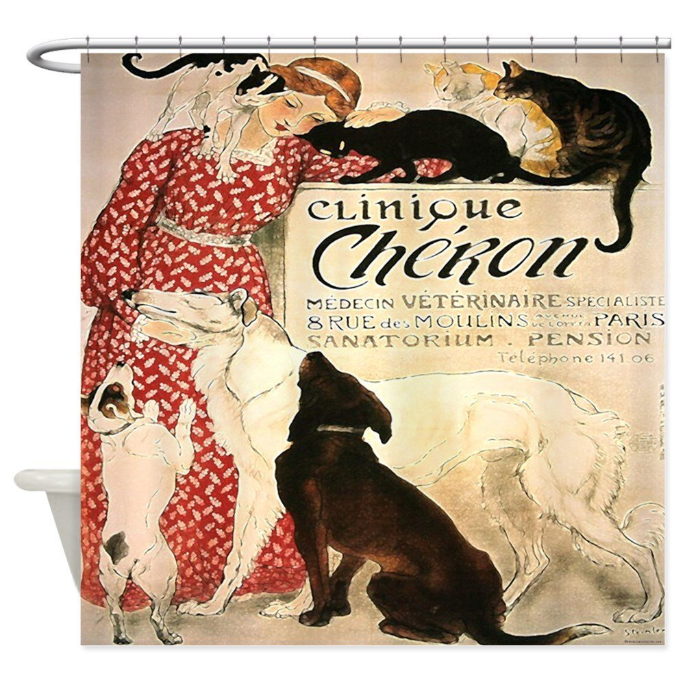 Vintage French Cat Dog - Decorative Fabric Shower Curtain (69x70)