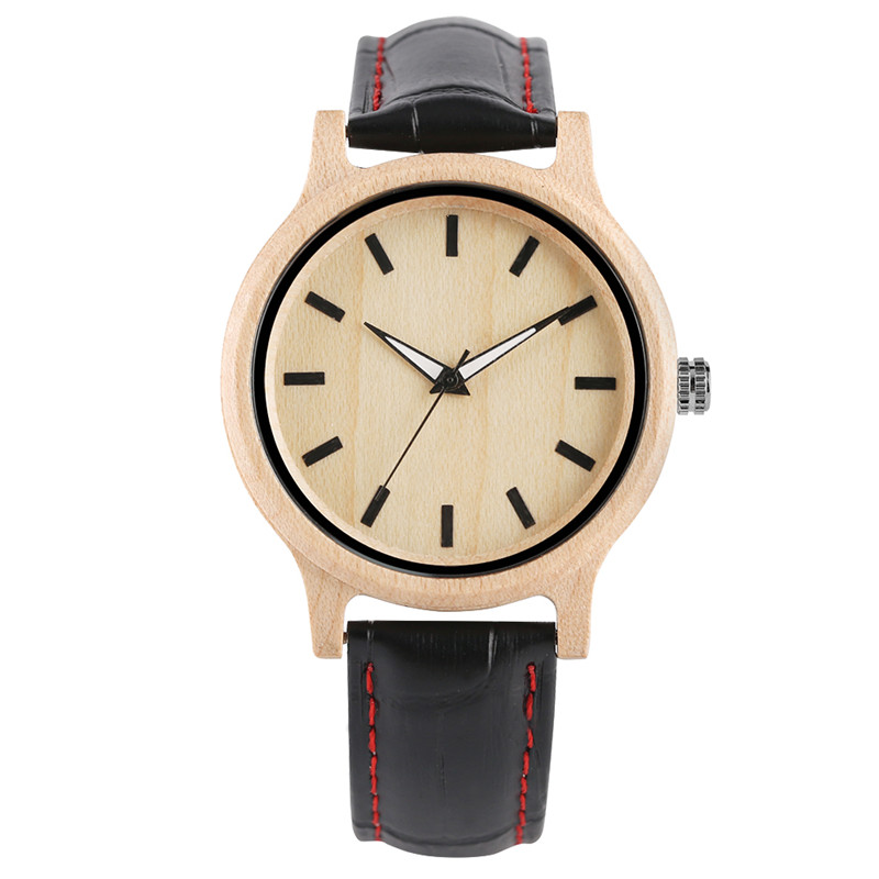 Simple Fashion High Quality Maple Wood Ladies Quartz Watch Black Genuine Leather Watchband Modern Casual Wooden Watches Gift Men
