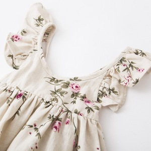 Image 2 - Girls Flower Dresses 2018 Kids Girl Linen Printed Dress Babies Princess Ruffles Dress Baby Girl Clothes beb clothing